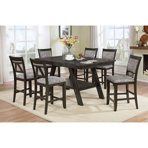 Seven Piece Pub Dining Set with Butterfly Leaf and Storage