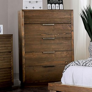Rustic Chest of 5 Drawers with Felt-Lined Top Drawer