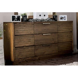 Rustic 6-Drawer Dresser with Felt-Lined Top Drawers