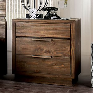 Rustic 3-Drawer Nightstand with Felt-Lined Top Drawer and USB Port