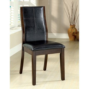 Set of 2 Side Chairs with Faux Leather Seats