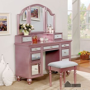 Glam Vanity and Stool Set with Tri-Fold Mirror