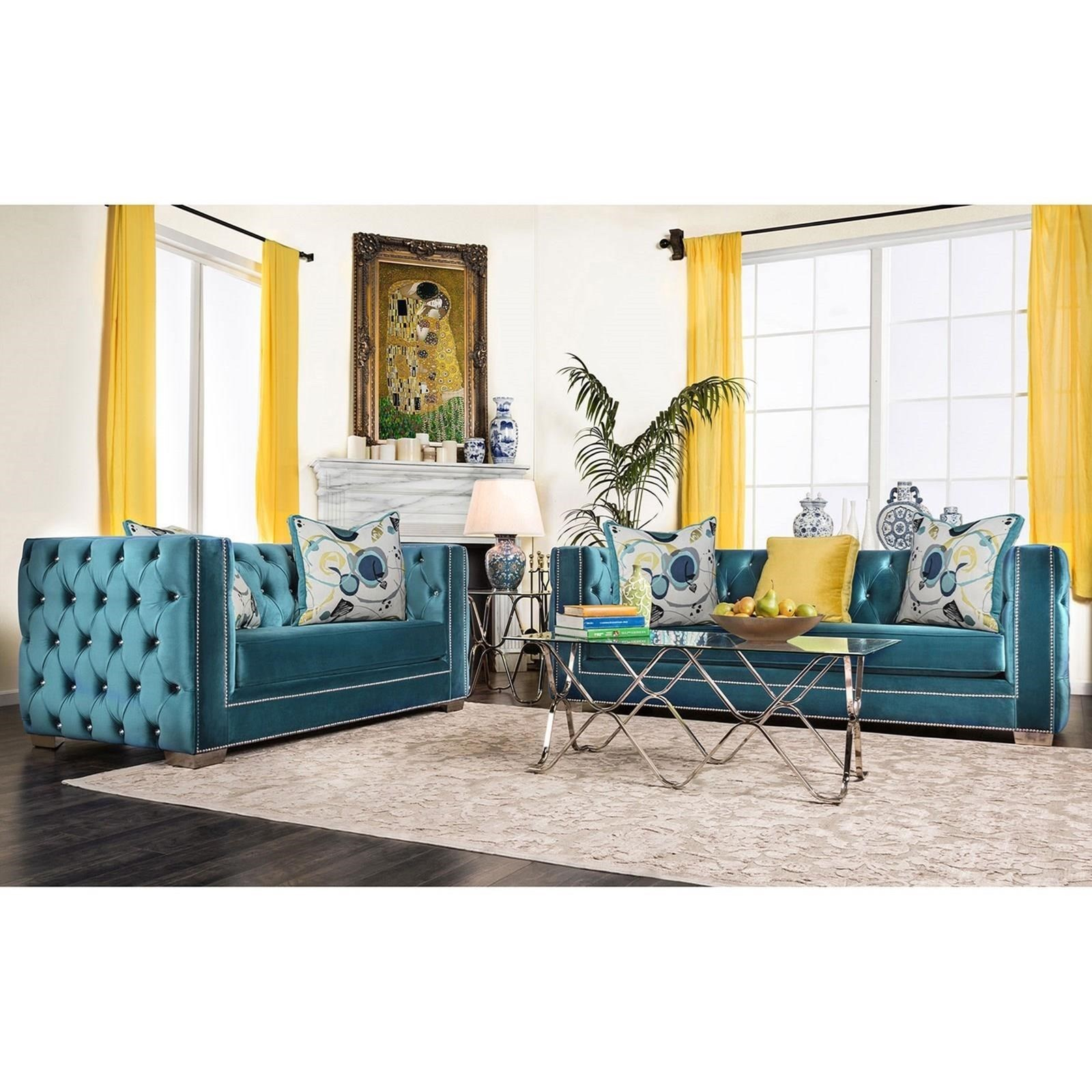 Salvatore Sofa and Loveseat by Furniture of America at Nassau Furniture and Mattress