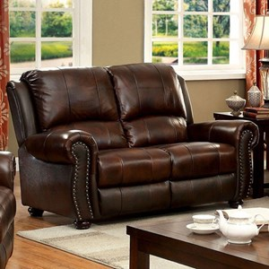 Traditional Faux Leather Loveseat with Nailhead Trim