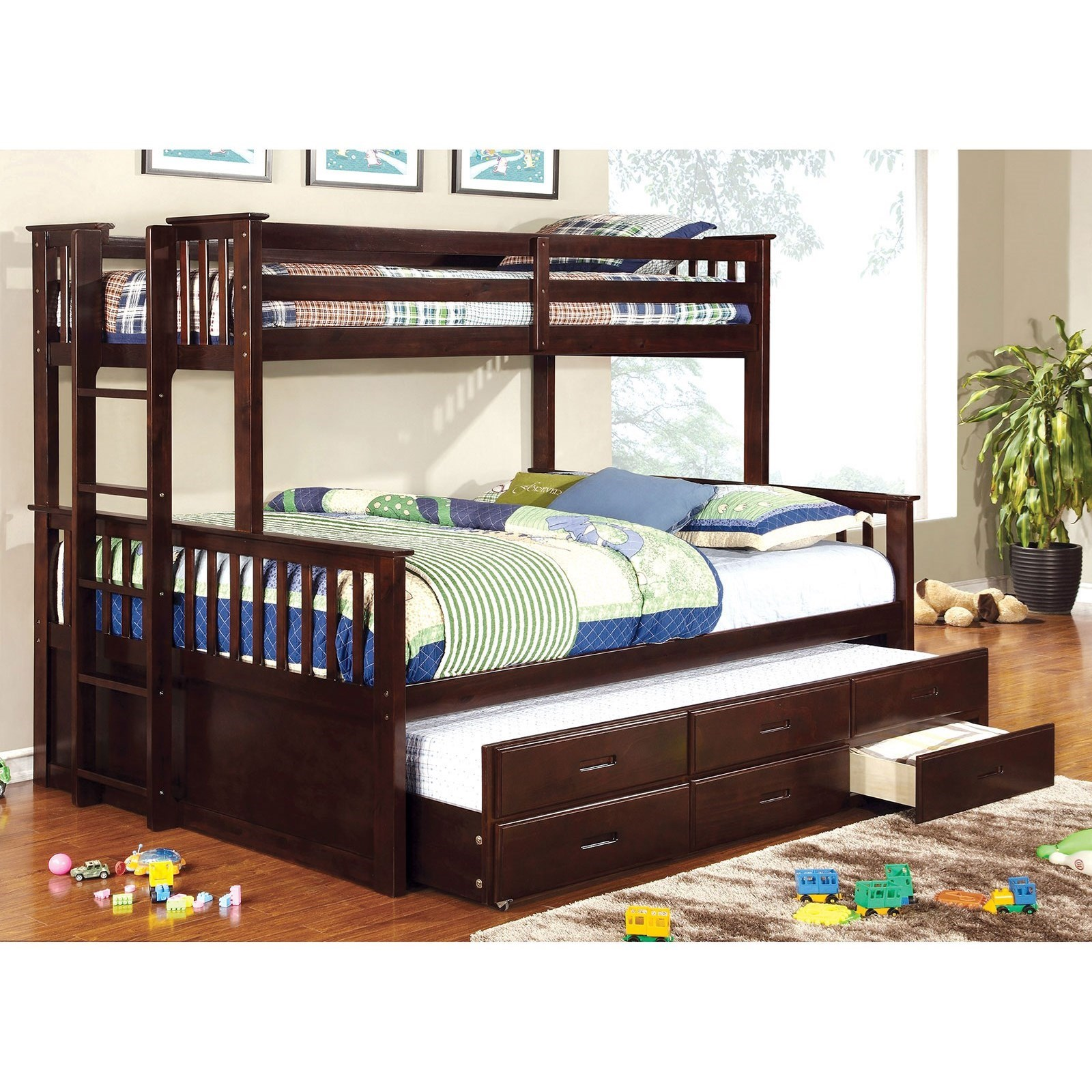 University Twin-over-Queen Bunk Bed and Trundle by Furniture of America at Nassau Furniture and Mattress
