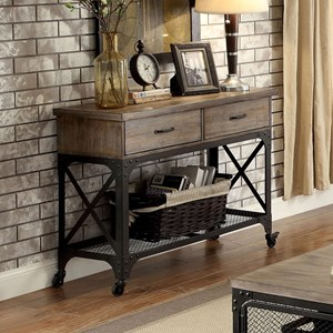 Industrial Sofa Table with Caster Wheels