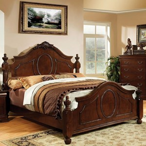Traditional California King Size Bed with Decorative Carved Headboard and Posts