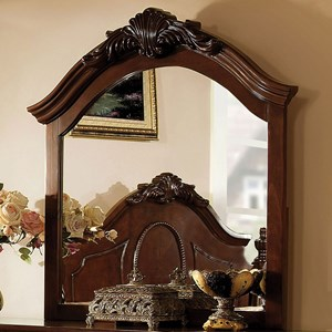 Traditional Arched Dresser Mirror with Decorative Carving