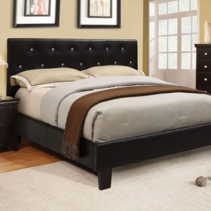 California King Faux Leather Upholstered Bed with Acrylic Crystal Buttons