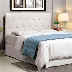 Queen Faux Leather Upholstered Headboard with Acrylic Crystal Buttons