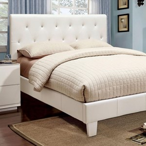 Twin Faux Leather Upholstered Bed with Acrylic Crystal Buttons