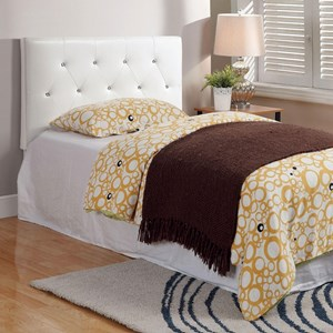 Twin Faux Leather Upholstered Headboard with Acrylic Crystal Buttons