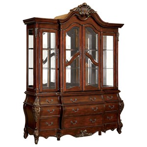 Traditional Breakfront China Cabinet with Glass Shelves