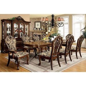 9 Piece Traditional Dining Set with 2 Table Leaves