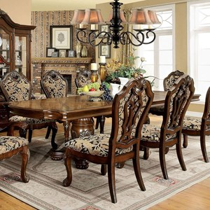 Traditional Formal Double Pedestal Dining Table with 2 Table Extension Leaves