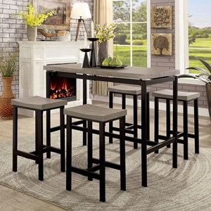 Contemporary 5 Piece Table and Stool Set with Metal Base