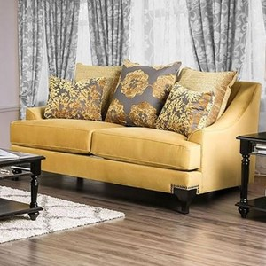 Transitional Love Seat with Decorative Nailheads
