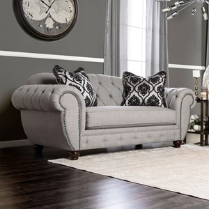 Traditional Tufted Love Seat with Nailheads