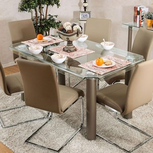 Contemporary Metal and Glass Dining Table