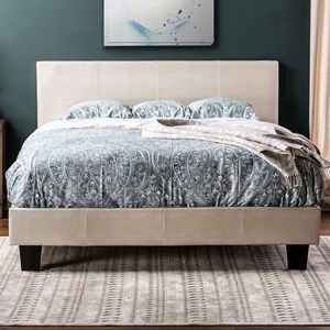 King Upholstered Bed in Faux Croc Leatherette