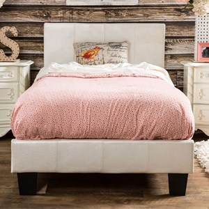 Twin Upholstered Bed in Faux Croc Leatherette