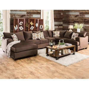 Casual U-Shaped Sectional with Deep Seats and Left Arm Facing Chaise