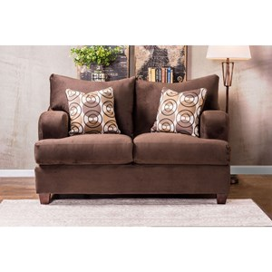 Casual Love Seat with Deep Seats and Wide Arms