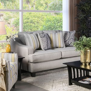 Contemporary Love Seat with Track Arms