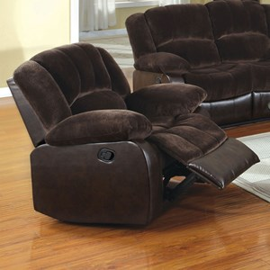 Casual Two Tone Recliner with Leatherette