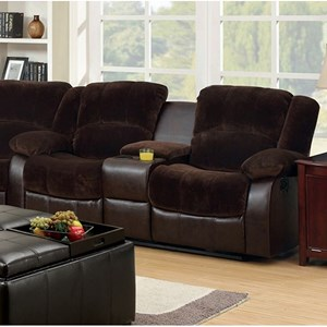 Casual Two Tone Reclining Loveseat with Leatherette and Cupholder Storage Console