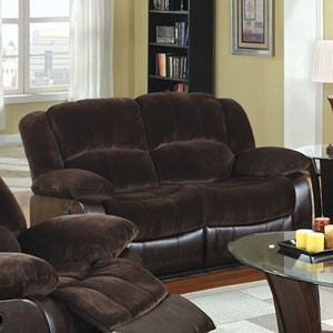 Casual Two Tone Reclining Loveseat with Leatherette