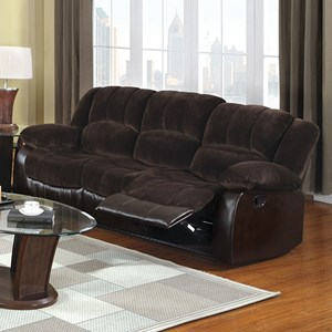 Casual Two Tone Reclining Sofa with Leatherette