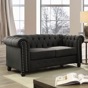 Traditional Chesterfield Loveseat with Nailheads