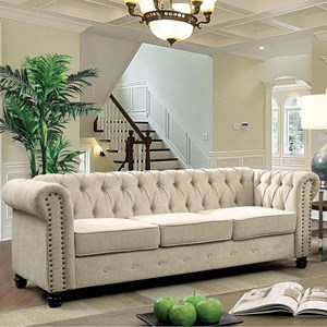 Traditional Chesterfield Sofa with Nailheads
