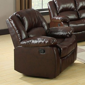 Recliner with Pillow Arms and Padded Headrest