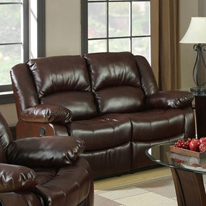 Reclining Loveseat with Pillow Arms and Padded Headrest