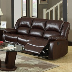 Reclining Sofa with Pillow Arms and Padded Headrest
