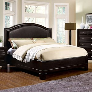 Transitional Queen Platform Bed with Curved Headboard