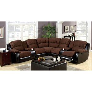 Sectional with Storage Console and Pillow Arms
