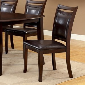Set of 2 Transitional Side Chairs with Faux Leather Upholstery