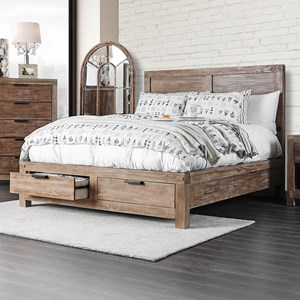 Rustic California King Bed with 2 Footboard Storage Drawers