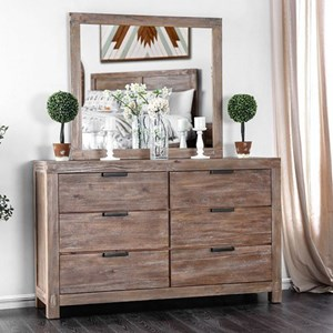 Rustic Dresser and Mirror Set with Weathered Finish