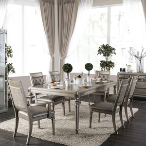 Transitional 7 Piece Dining Set with Leaf and Button Tufted Chairs