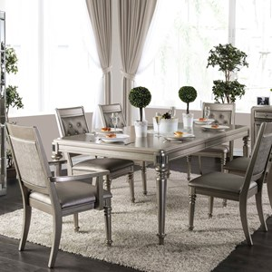 Transitional Dining Table with Center Leaf