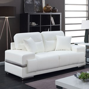 Contemporary Faux Leather Loveseat with Metal Trim