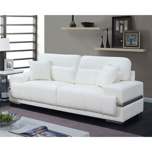 Contemporary Faux Leather Sofa with Metal Trim