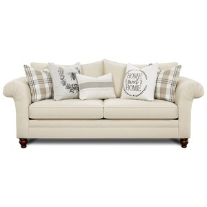 Farmhouse Style Sofa with Rolled Arms