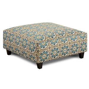 Contemporary Square Ottoman with Tapered Wood Legs