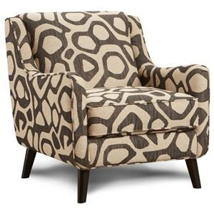 Atomic Brindle Mid-Century Modern Accent Chair with Angled Arms