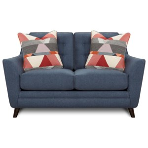 Mid-Century Modern Loveseat with Button Tufting